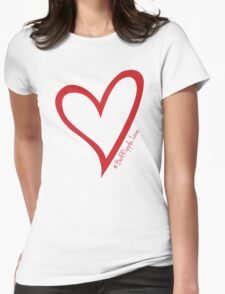 #BeARipple...LOVE Red Heart on Pink Womens Fitted T-Shirt