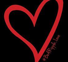 #BeARipple...LOVE Red Heart on Black by BeARipple