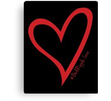 #BeARipple...LOVE Red Heart on Black Canvas Print