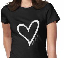 #BeARipple...LOVE White Heart on Black Womens Fitted T-Shirt