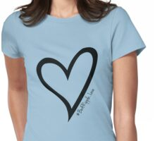 #BeARipple...LOVE Black Heart on Blue Womens Fitted T-Shirt