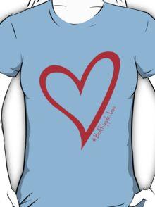 #BeARipple...LOVE Red Heart on Blue T-Shirt