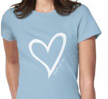 #BeARipple...LOVE White Heart on Blue Womens Fitted T-Shirt