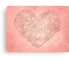 Hearts & flowers in pink Canvas Print