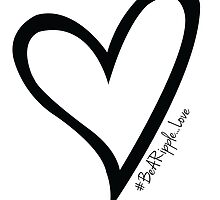#BeARipple...LOVE Black Heart on White by BeARipple