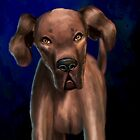 Painting of a Big Brown Dog Looking Directly at You by ibadishi