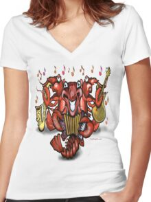 Crawfish Band Women's Fitted V-Neck T-Shirt