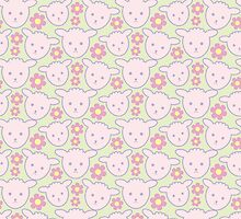 Sweet Lamb Pattern in Pink and Green - Pastel Nursery by PatternPrint