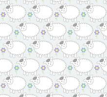 Pastel Gray and Blue Lamb Pattern by PatternPrint