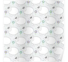 Pastel Gray and Blue Lamb Pattern Poster