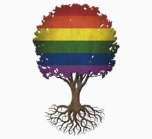 Tree of Life with Gay Pride Rainbow Flag One Piece - Long Sleeve