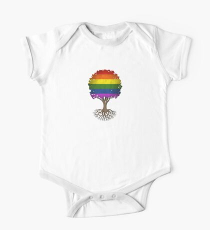Tree of Life with Gay Pride Rainbow Flag One Piece - Short Sleeve