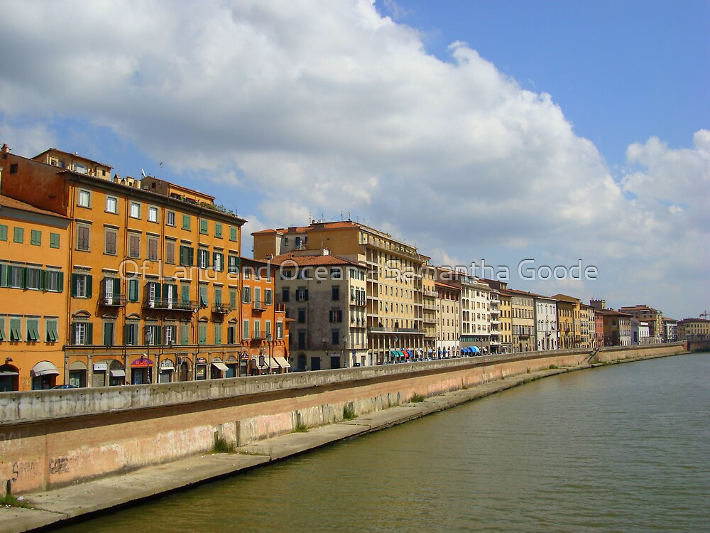 Buildings along the river, Pisa, Italy by Of Land & Ocean - Samantha Goode