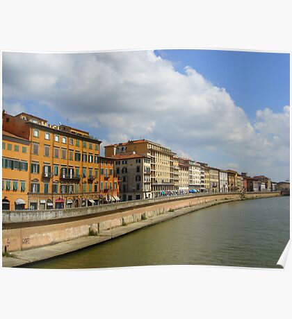 Buildings along the river, Pisa, Italy Poster