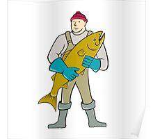 Fishmonger Standing Salmon Fish Cartoon Poster