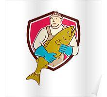 Fishmonger Holding Salmon Fish Shield Cartoon Poster