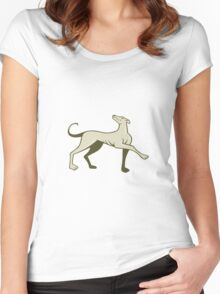 Greyhound Dog Marching Looking Up Cartoon Women's Fitted Scoop T-Shirt