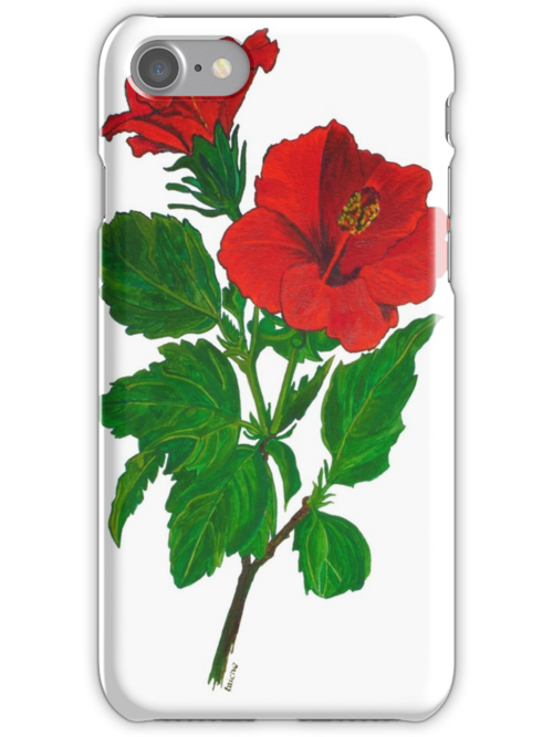 Aloha Red Hibiscus Greetings by taiche