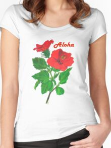 Aloha Red Hibiscus Greetings Women's Fitted Scoop T-Shirt