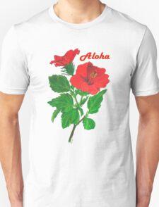 Aloha Red Hibiscus Greetings Unisex T-Shirt