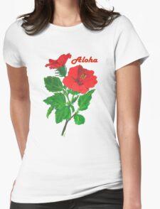 Aloha Red Hibiscus Greetings T-Shirt