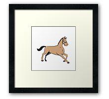 Horse Kneeling Down Cartoon Framed Print