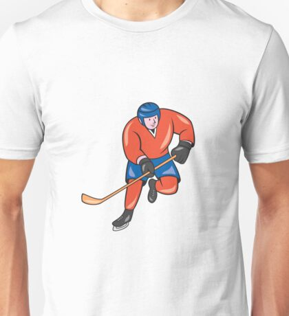 Ice Hockey Player With Stick Cartoon Unisex T-Shirt