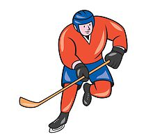 Ice Hockey Player With Stick Cartoon by patrimonio