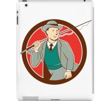Vintage Fly Fisherman Bowler Hat Cartoon iPad Case/Skin