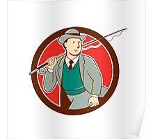 Vintage Fly Fisherman Bowler Hat Cartoon Poster
