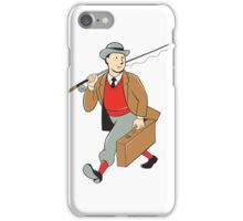 Vintage Tourist Fly Fisherman Luggage Cartoon iPhone Case/Skin
