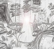 Mystical Forest - Final Fantasy XI Inspired Sketch by etherealdesigns