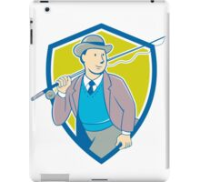 Vintage Fly Fisherman Bowler Hat Shield Cartoon iPad Case/Skin
