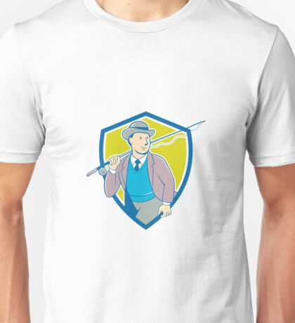 Vintage Fly Fisherman Bowler Hat Shield Cartoon Unisex T-Shirt