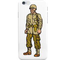 World War Two Soldier Standing Linocut iPhone Case/Skin
