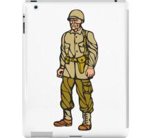 World War Two Soldier Standing Linocut iPad Case/Skin
