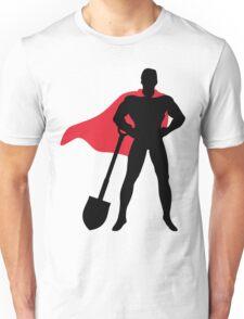 Superhero with shovel Unisex T-Shirt
