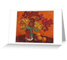 Tulips and oranges Greeting Card