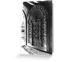 Exeter Cathedral - Mediaeval Door. Greeting Card