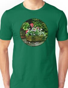 Geraniums and Lavender Flowers on Stone Steps Unisex T-Shirt