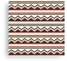 Coral and Gold Chic Chevron and Glitter Stripes Canvas Print
