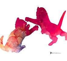 Two abstract cats playing watercolor silhouette by Joanna Szmerdt