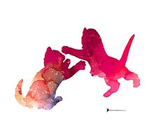 Two abstract cats playing watercolor silhouette Photographic Print