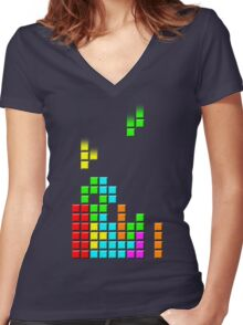 #1 TETRIS FAN Women's Fitted V-Neck T-Shirt