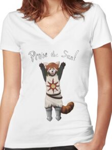 Sun Warrior Red Panda! Women's Fitted V-Neck T-Shirt