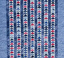 Flying Geese Quilt In Red, White And Blue by Jean Gregory  Evans