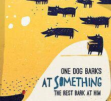 One dog barks at something, the rest bark at him by menulis
