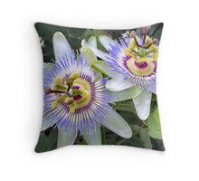 Purple Passion Flowers Throw Pillow