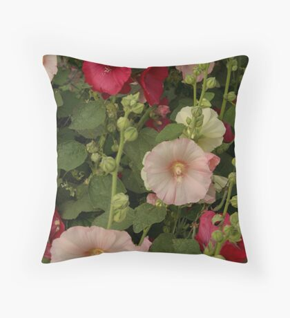 Pink and Red Hollyhocks  Throw Pillow