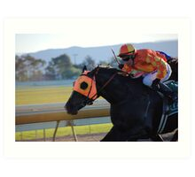 The horses are on the track! Art Print